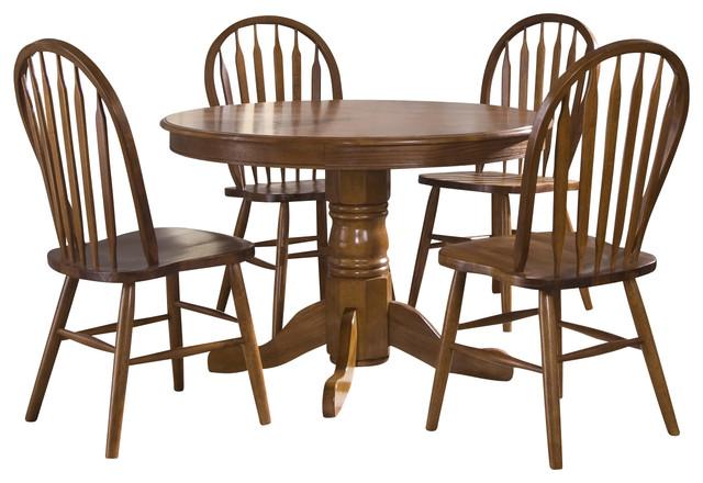 Liberty Furniture Nostalgia 5 Piece 42 Inch Round Dining Room Set In Oak