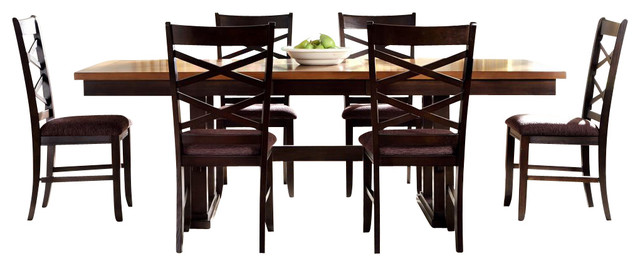 Liberty furniture bistro ii 7 piece 90x40 trestle dining for Trestle dining room sets