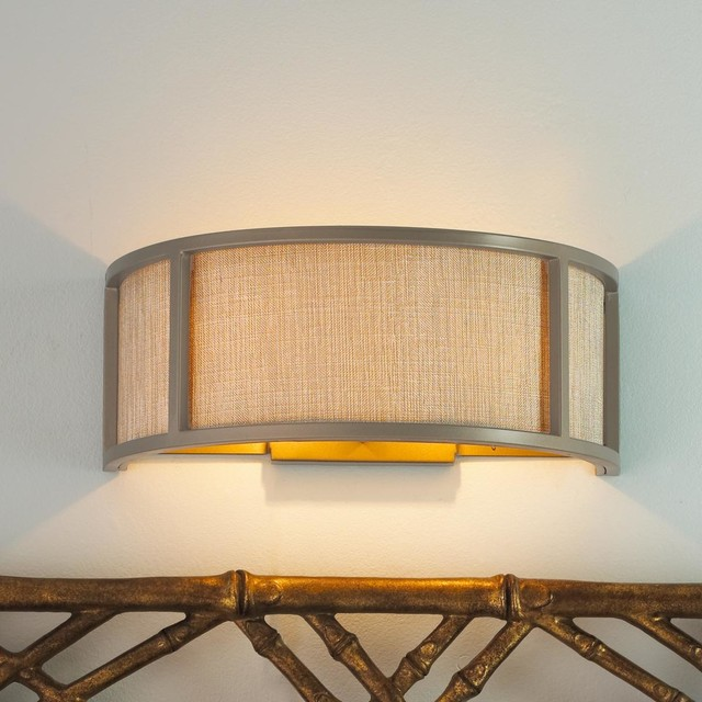 Silver Linen Arc Shade Sconce - lamp shades - by Shades of Light