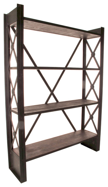 Industrial Loft Reclaimed Wood Bookcase transitional-bookcases