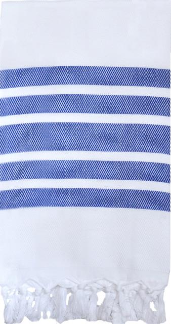 Luxe Lake Herringbone Bath Towel,  Navy traditional-towels