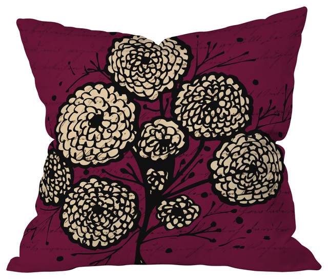 Julia Da Rocha Letters And Flowers Throw Pillow, 20x20x6 eclectic-decorative-pillows