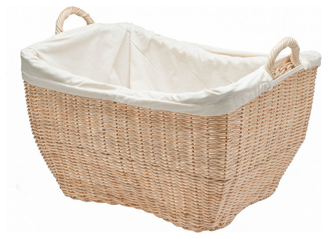Wicker Laundry Basket With Liner, Natural Color - Contemporary - Baskets - other metro - by KOUBOO