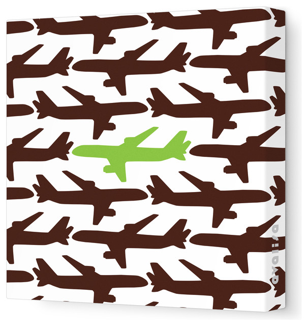 """Things That Go - Fleet Stretched Wall Art, 28"""" x 28"""", Brown Green traditional-kids-wall-decor"""