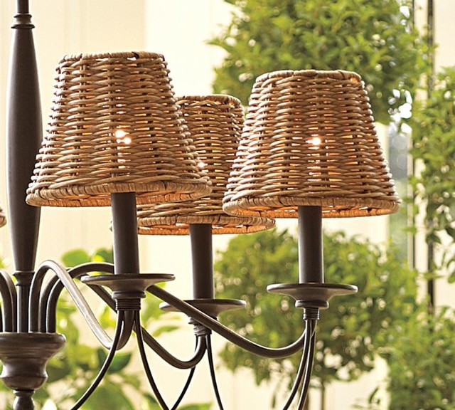 Pottery Barn Clip On Lamp: Woven Wicker Chandelier Shades, Set Of 3