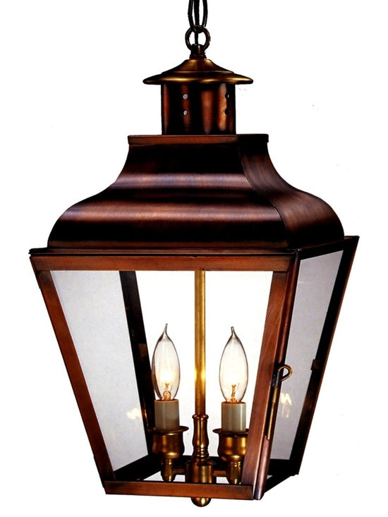 Lanternland - Portland Pendant Copper Lantern Hanging Outdoor Light, Large, Verdi Green, Water - The Portland Pendant Outdoor Hanging  Copper Lantern, shown here in our burnished Antique Copper finish with clear glass, is an heirloom-quality lantern made by hand in the USA. Refined enough for indoor use but rugged enough to last decades outdoors this hanging light, is equally at home indoors or outdoors. Use indoors as lighting over a kitchen island or to outdoors to light an entryway.