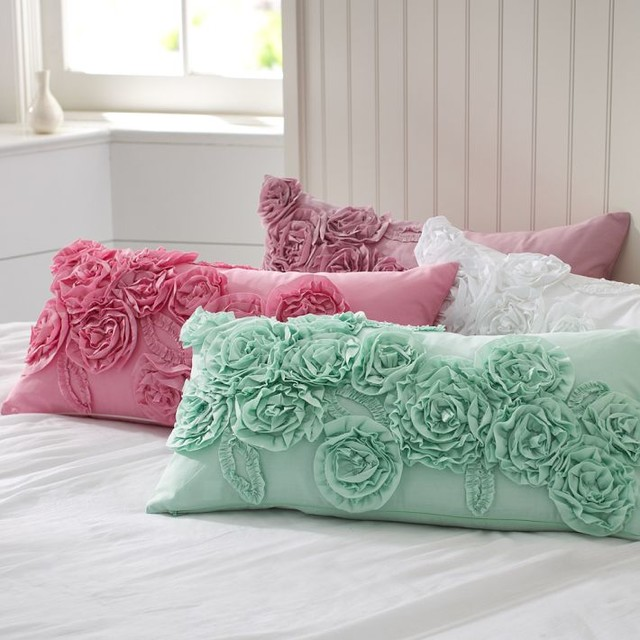 Ruffle & Rose Lumbar Pillow Cover - Decorative Pillows - other metro - by PBteen