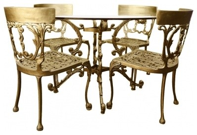 Gold Italian Cast Iron Table & Chairs midcentury-dining-tables