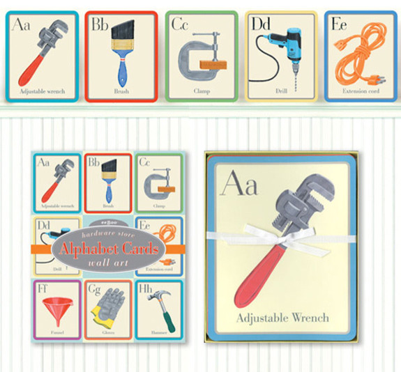 Hardware Store Alphabet Wall Cards kids-decor