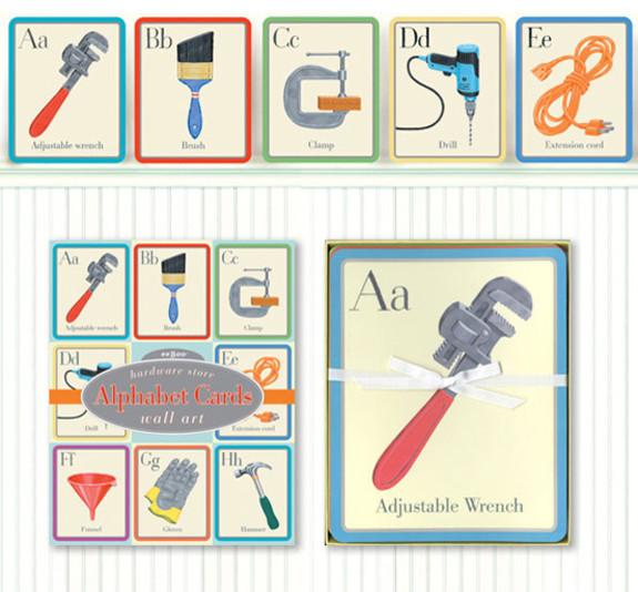 Hardware Store Alphabet Wall Cards kids-wall-decor