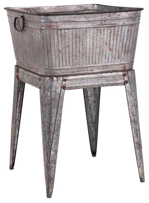 Industrial Galvanized Wash Tub on Stand Decor ? More Info