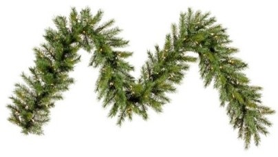 9 ft. Augusta Pine Pre-Lit Clear Garland modern-holiday-decorations