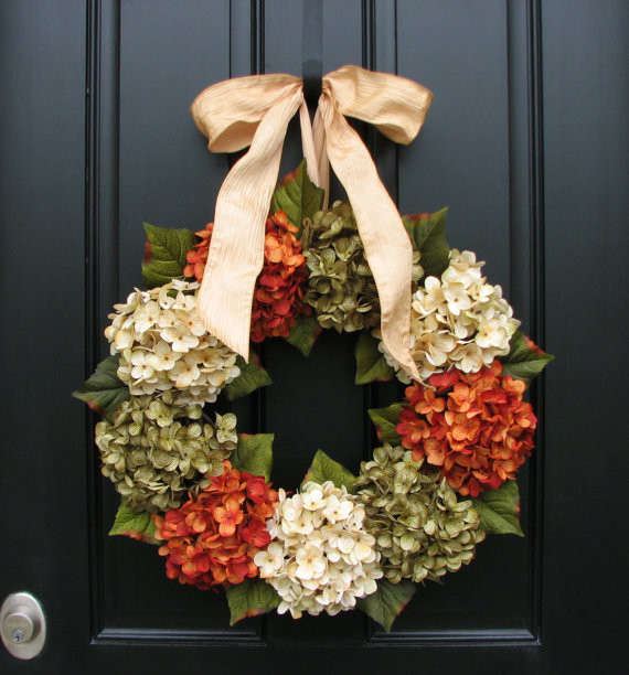 Fall Wreath, Hydrangeas by Two Inspire You contemporary-wreaths-and-garlands