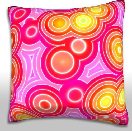 Retro Circles Pattern Pink Pillow. Polyester Velour Throw Pillow contemporary-decorative-pillows