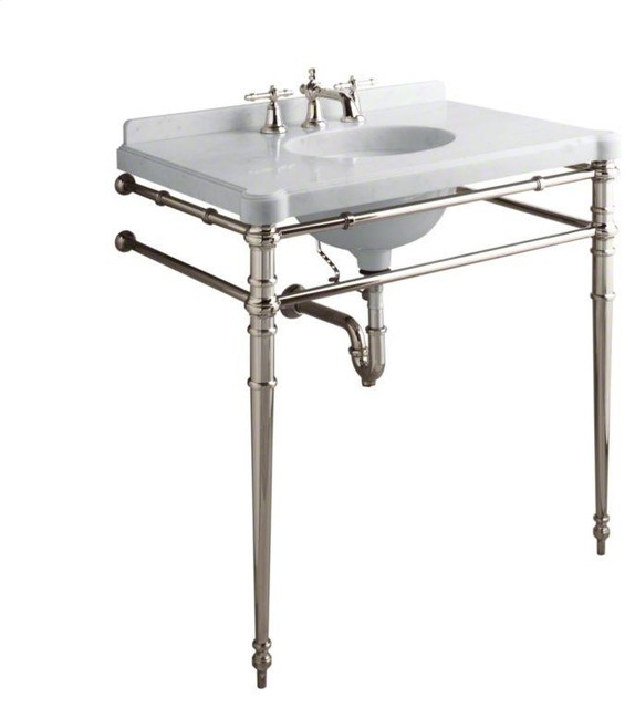 Park Rounded Metal Single Console Sink: Sink Console Chrome