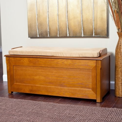 Cedar Chest Mission Bench with Cushion - Oak modern-upholstered-benches