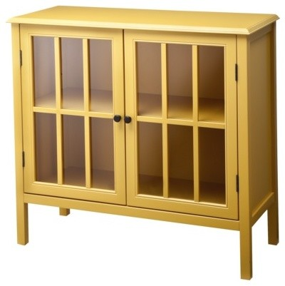 Accent Storage Bookcase Cabinet, Yellow - Modern - Accent ...