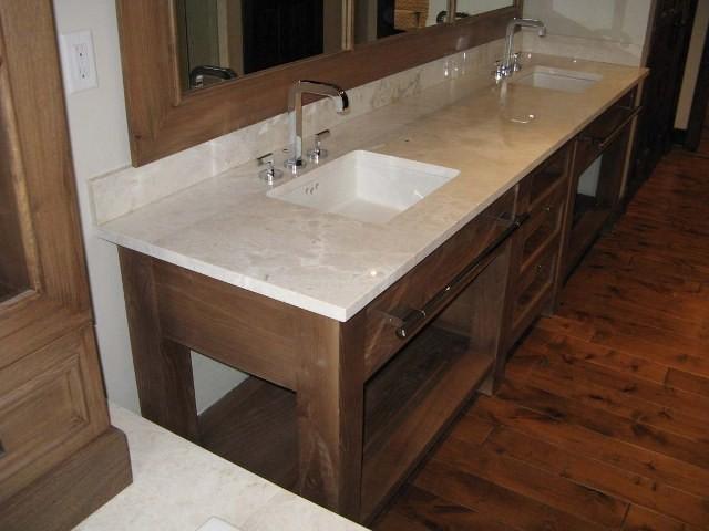 reclaimed elm slab vanity contemporary bathroom