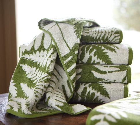 Fern Jacquard Organic Bath Towels Contemporary Bath