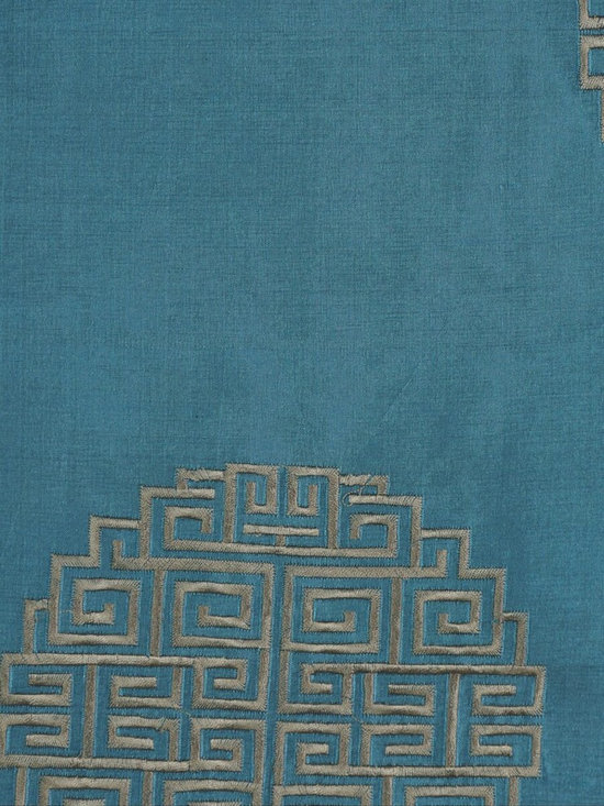 Blue Embroidered Chinese-inspired Dupioni Silk Custom Made Curtains - Touch soft and smooth, these panels are tailored from the finest silk. Our Halo Collection curtains bring a subtle air of delicacy and culture.