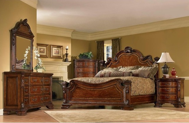 art furniture 5 piece old world king size estate bedroom set