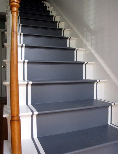 painted stair runners eclectic by. Black Bedroom Furniture Sets. Home Design Ideas