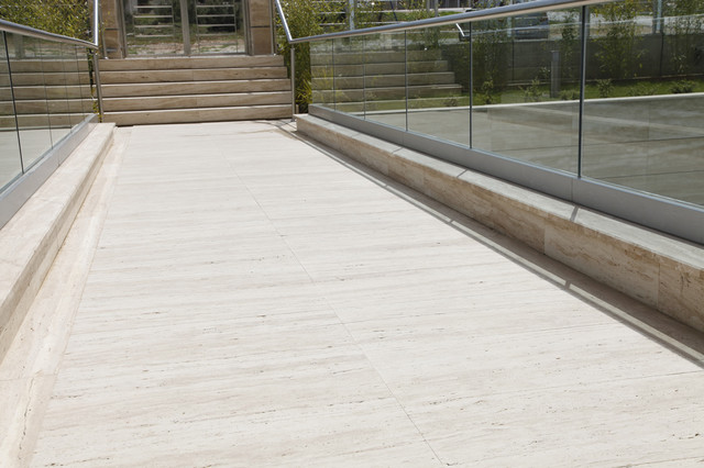 Veincut Travertine Outdoor Walkway mediterranean