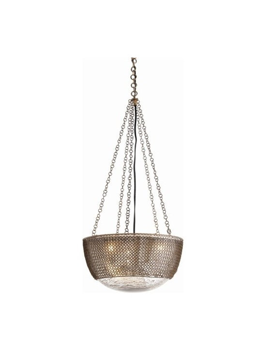 Arteriors Chainmail 3 Light Brass/Glass Pendant - Chainmail 3 Light Brass/Glass Pendant