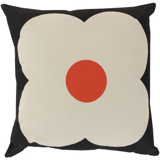 Giant Abaws Pillow by Orla Kiely, Black/Beige/Poppy Pillow modern-decorative-pillows