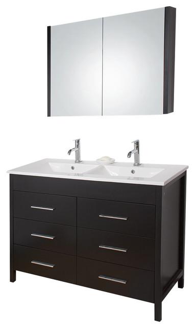 48 Bathroom Vanity With Top: VIGO 48-inch Maxine Double Bathroom Vanity, Espresso, With