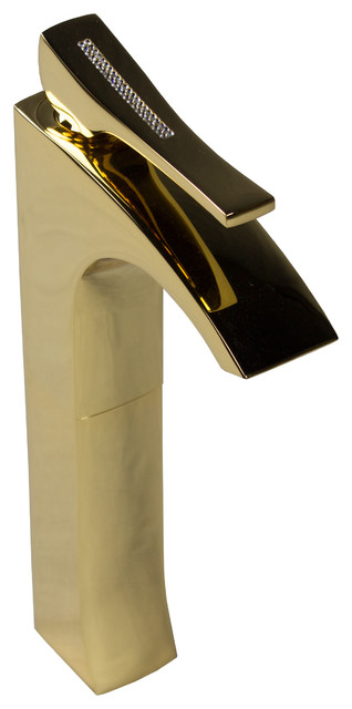 Skip Diamond Bathroom Vessel Faucet Swarovski Crystal Polished Gold Modern Bathroom