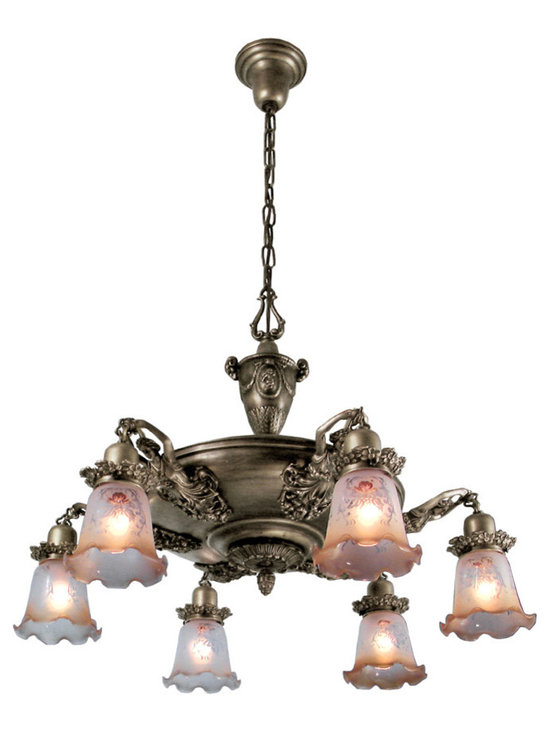 "Victorian Chandeliers - Nice! For every 2,000 plain pan fixtures that were made in 1900, only one of these was made. The antique examples of these demand very substantial prices because they are so scarce. Extra large pan light with lady arm detail has a spread of 30"" with shades shown."