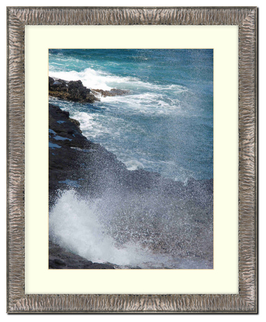 Wall Picture Frame Silver Crinkled finish with a white acid-free matte, 8x10 contemporary-frames