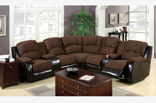 F Traditional Brown Microfiber Leather Reclining Sectional