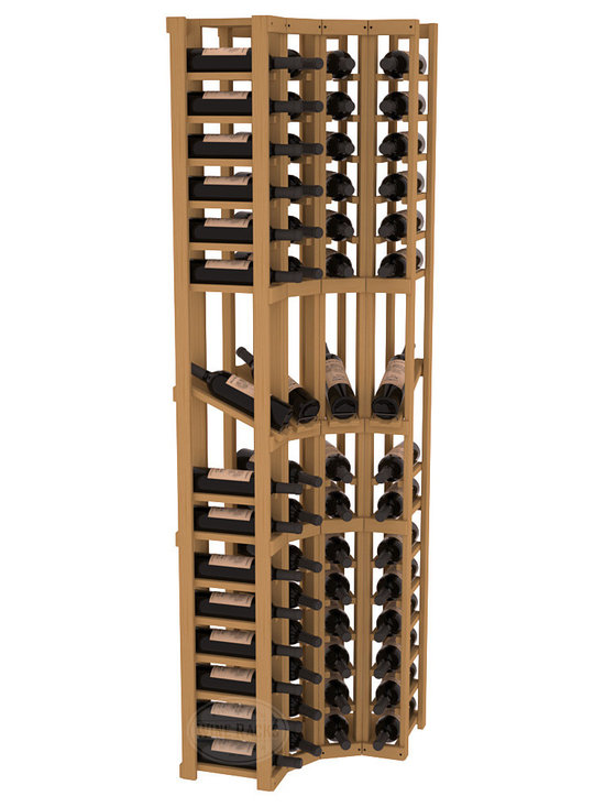 Wine Racks America® - 4 Column Display Cellar Corner in Pine, Oak Stain - Unique corner wine racks obtain maximal storage capacity with style. Display 4 coveted vintages without sacrificing proper wine storage. We back the quality of every rack with our lifetime warranty. Designed with emphasis on functionality, these corner racks fit seamlessly into our modular line of wine racks.