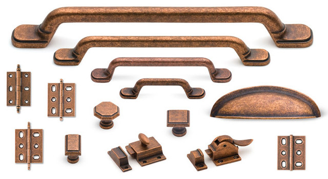 Suite cabinet hardware collection in Old Copper traditional hardware