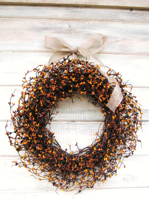 Pumpkin Pie Berry Wreath by Wild Ridge Design contemporary-wreaths-and-garlands