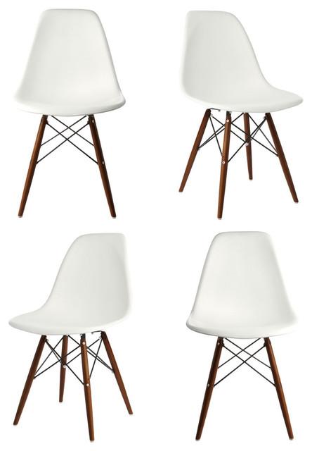 Dsw white mid century modern plastic dining shell chair w dark walnut