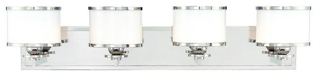 Hudson Valley 6104-PN Basking Ridge Polished Nickel 4 Light Vanity contemporary-lighting
