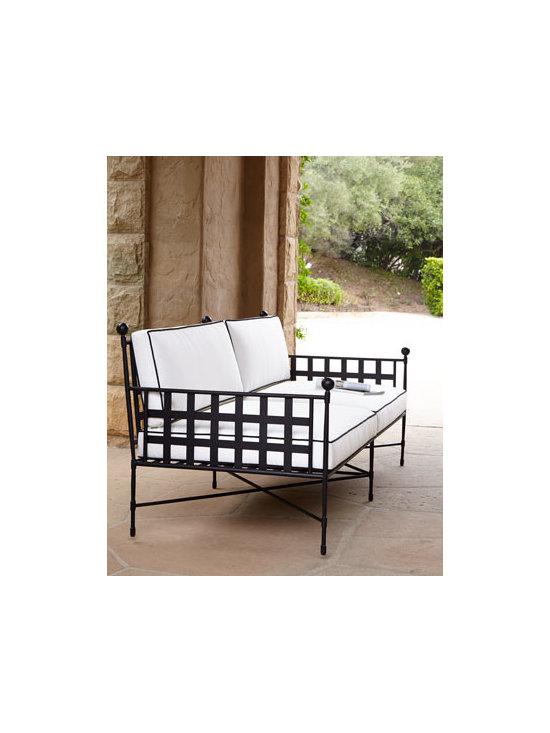 Horchow - Neoclassical Outdoor Sofa - Furnish your favorite outdoor living space with this classic white and black furniture and outdoor living and entertaining becomes a comfortable affair. Metal frame with powder-coated finish. Cushions covered in water-repellent/resistant polyester fab...