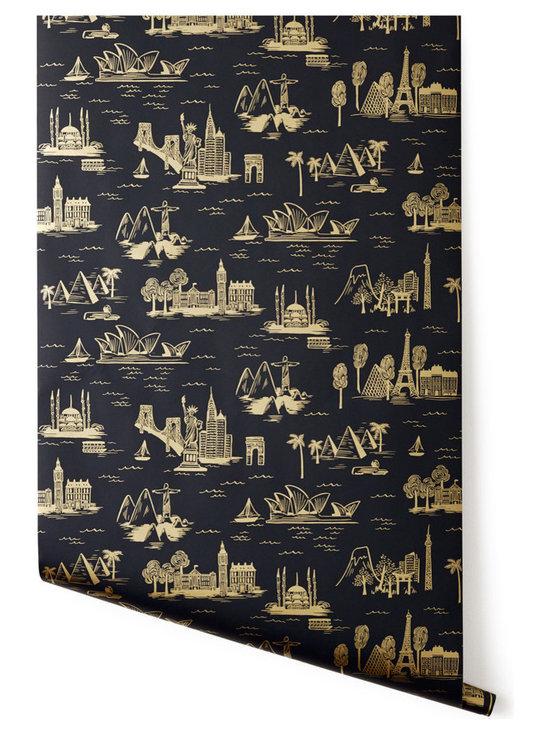 Cities Toile Wallpaper, Ebony -