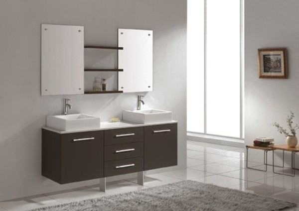 Original  Allier 60in Modern Double Sink Bathroom Vanity W Mirror  ATG Stores