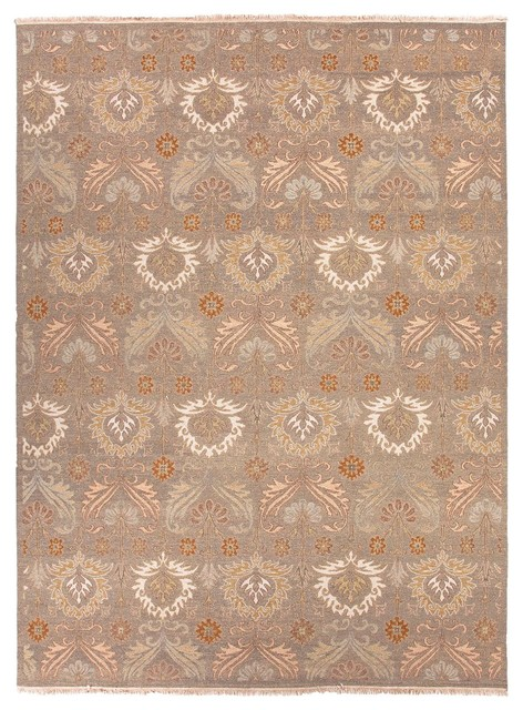 Hand-Knotted Oriental Pattern Wool Gray/Ivory Area Rug asian-rugs