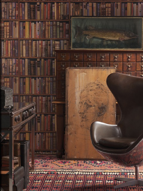 Wall Of Books Library Wallpaper Multi Standard Transitional Wallpaper By Kathy Kuo Home