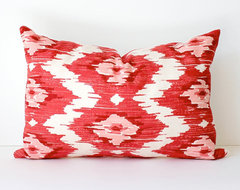 Ikat Modern Decorative Designer Lumbar Pillow by Whitlock & Co. eclectic pillows