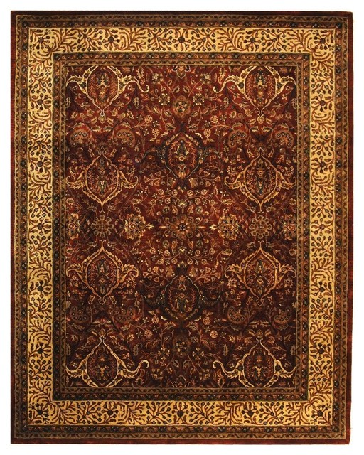 """Traditional Persian Legend Round 3'6"""" Round Red - Ivory Area Rug traditional-rugs"""