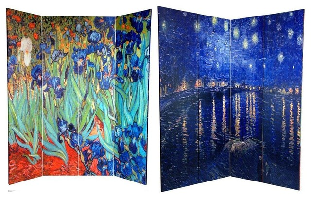 6 ft. Tall Double Sided Works of Van Gogh Canvas Room Divider - Irises contemporary-screens-and-room-dividers