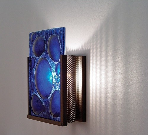 FN1 Wall Sconce With Textured Cast Glass Panel And Partial