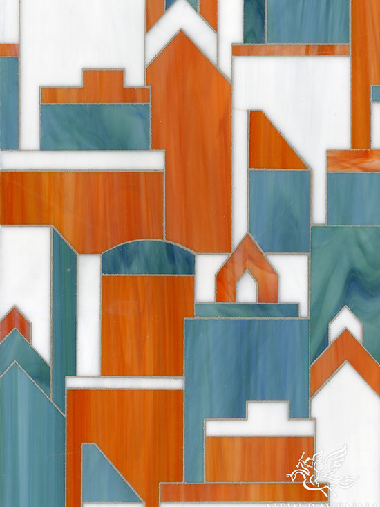 Erin Adams - Cityscape - Cityscape, a glass waterjet mosaic shown in Moonstone, Sardonyx and Peacock Topaz, is part of the Erin Adams Collection for New Ravenna Mosaics.