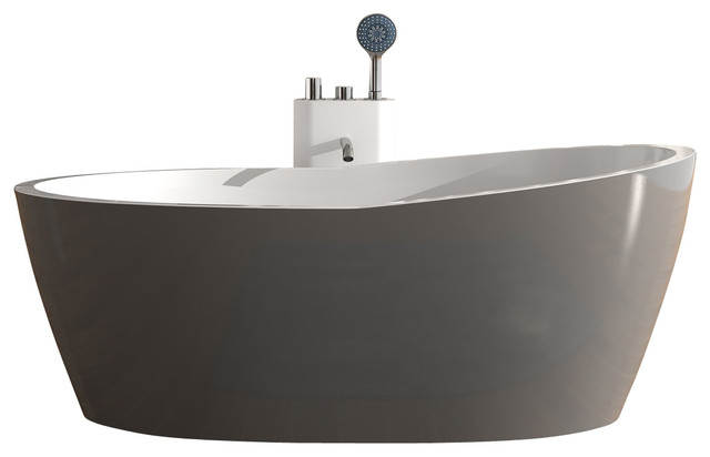 Adm matte stand alone resin bathtub grey contemporary for Modern stand alone bathtubs